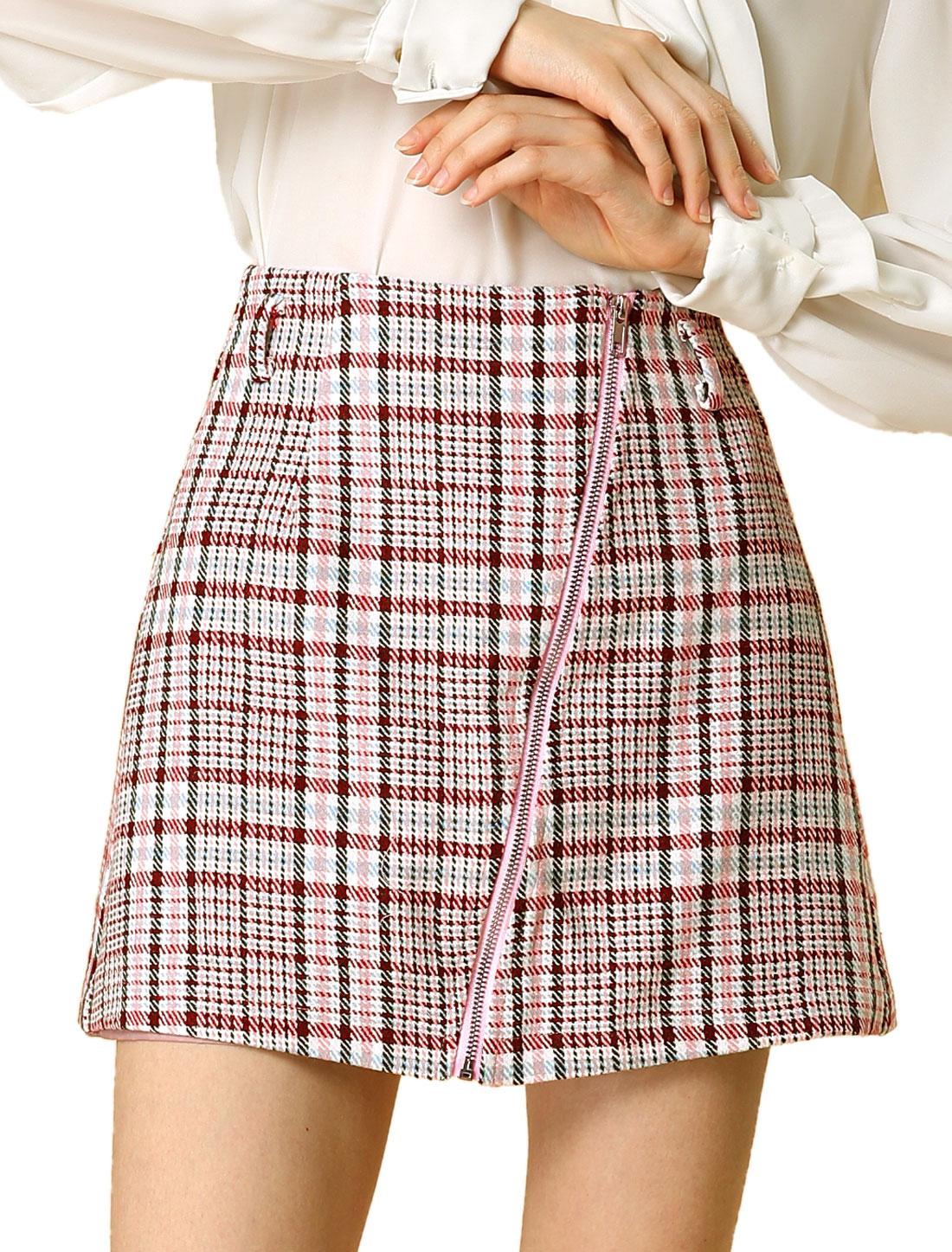 Allegra K Women's Zip High Waist Aline Plaids Skirt with Belt PINK L (US 14)