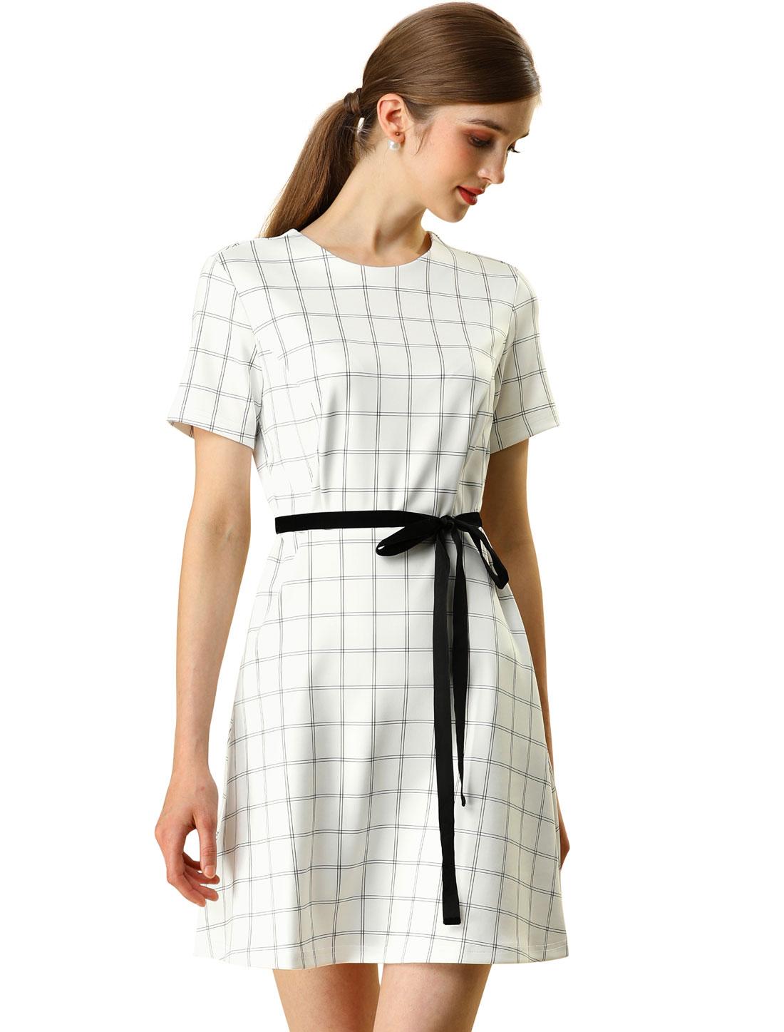 Allegra K Women's Elegant Work Tie Waist Plaid A-line Dress White XL