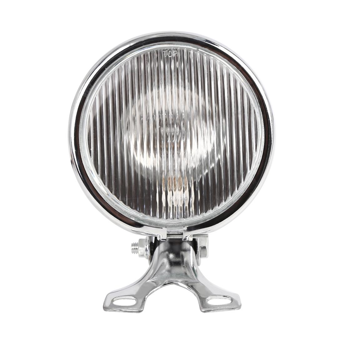 Silver Tone 35W Yellow Light Round Motorcycle Halogen Headlight High Low Beam
