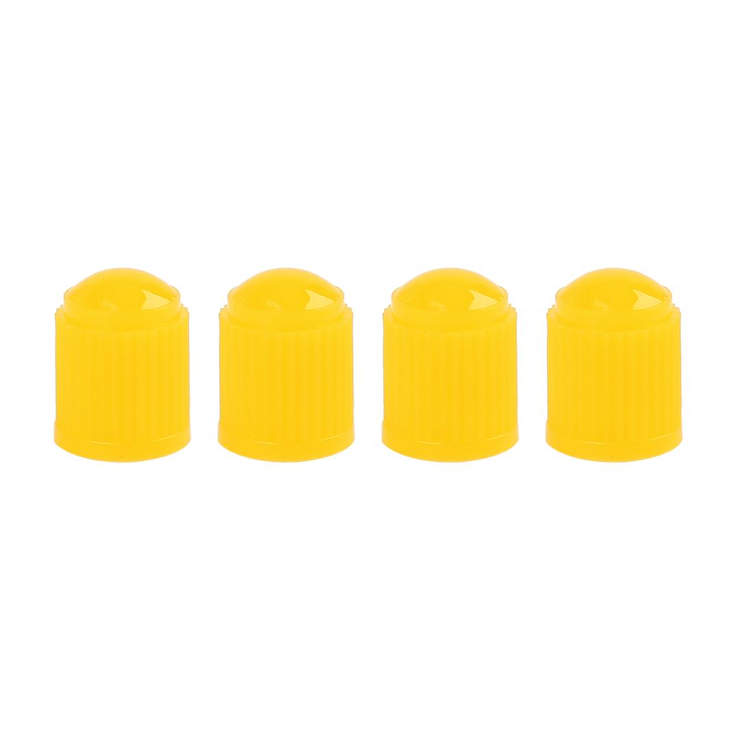 4pcs Yellow Plastic Universal Tire Valve Stem Cap Cover for Motorcycle Bike Car