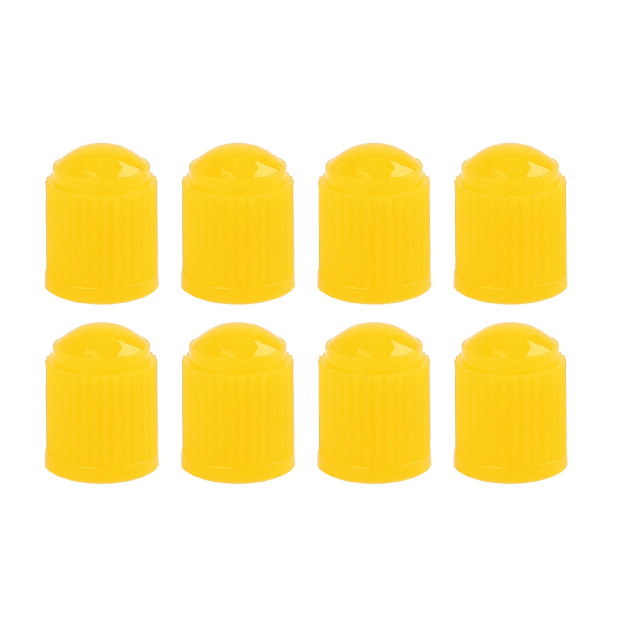 8pcs Yellow Plastic Universal Tire Valve Stem Cap Cover for Motorcycle Bike Car