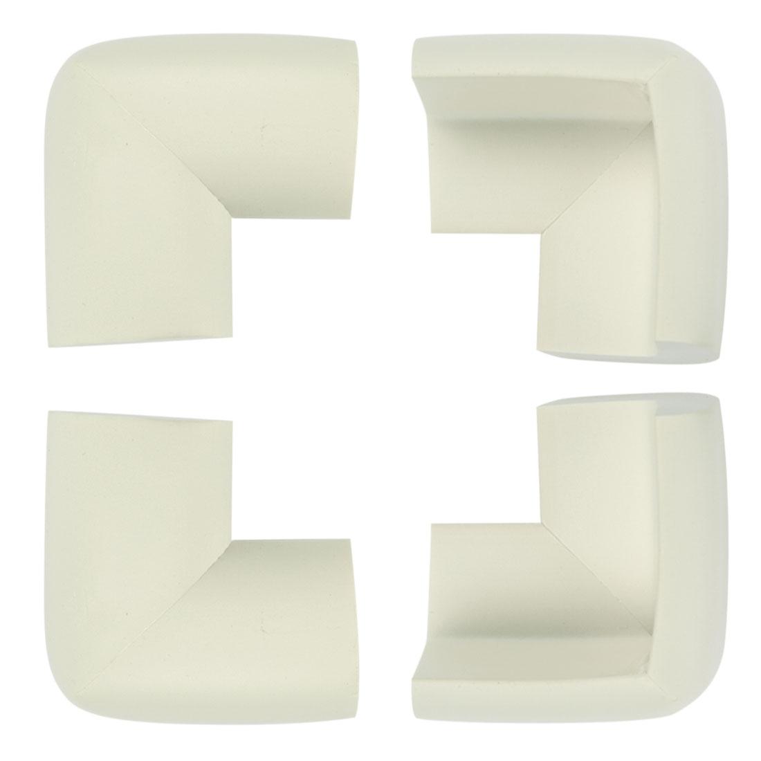 4pcs White Desk Edge Foam Corner Cushion Guard Strip Soft Bumper Protector