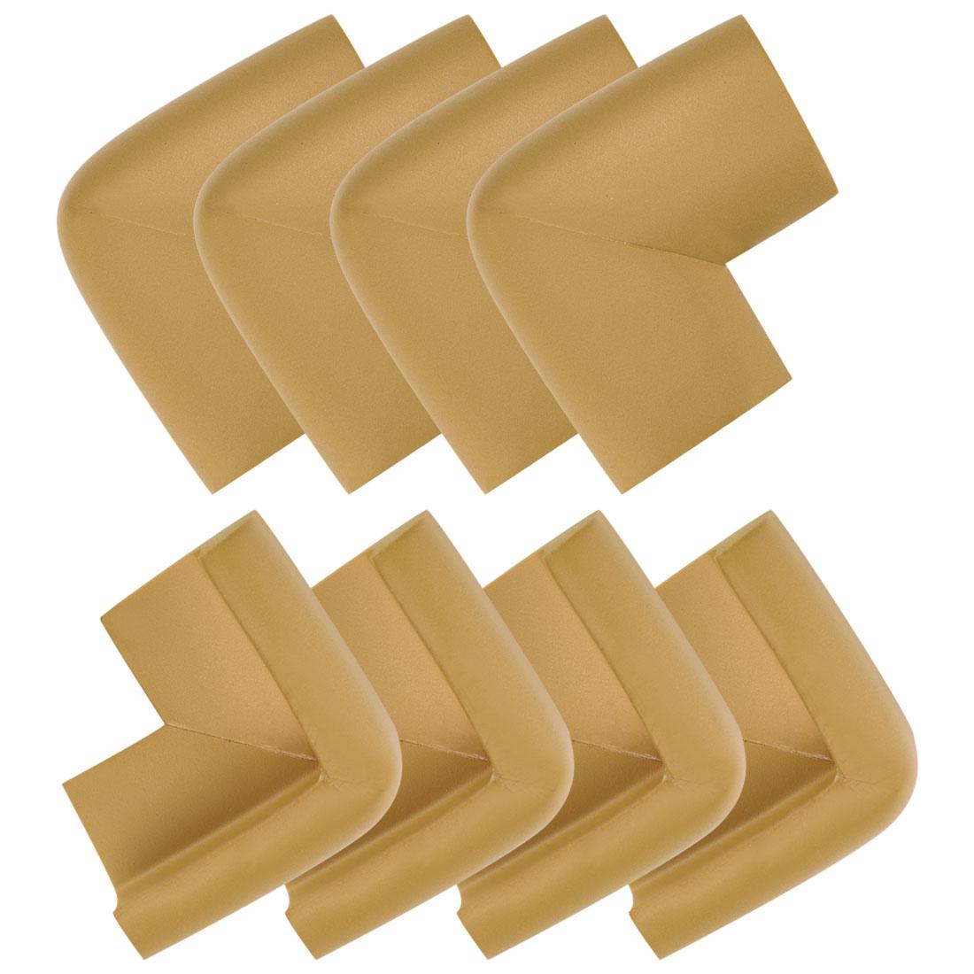 Desk Table Edge Foam Corner Cushion Guards Soft Bumper Protector 8pcs Brown