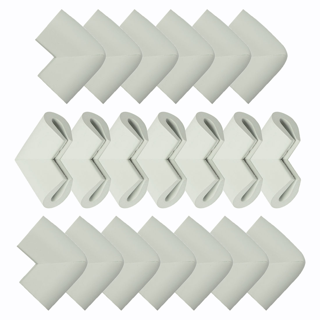 Desk Edge Foam U Shape Corners Cushion Guard Strip Bumper Protector 20pcs Grey