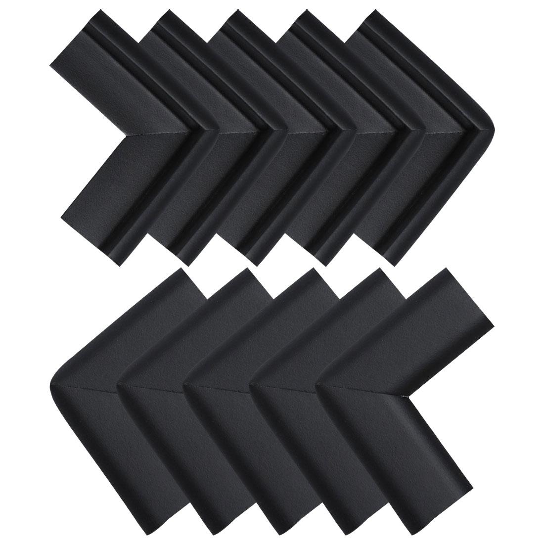 Desk Table Edge Foam Corner Cushion Guard Soft Bumper Protector 10pcs Black