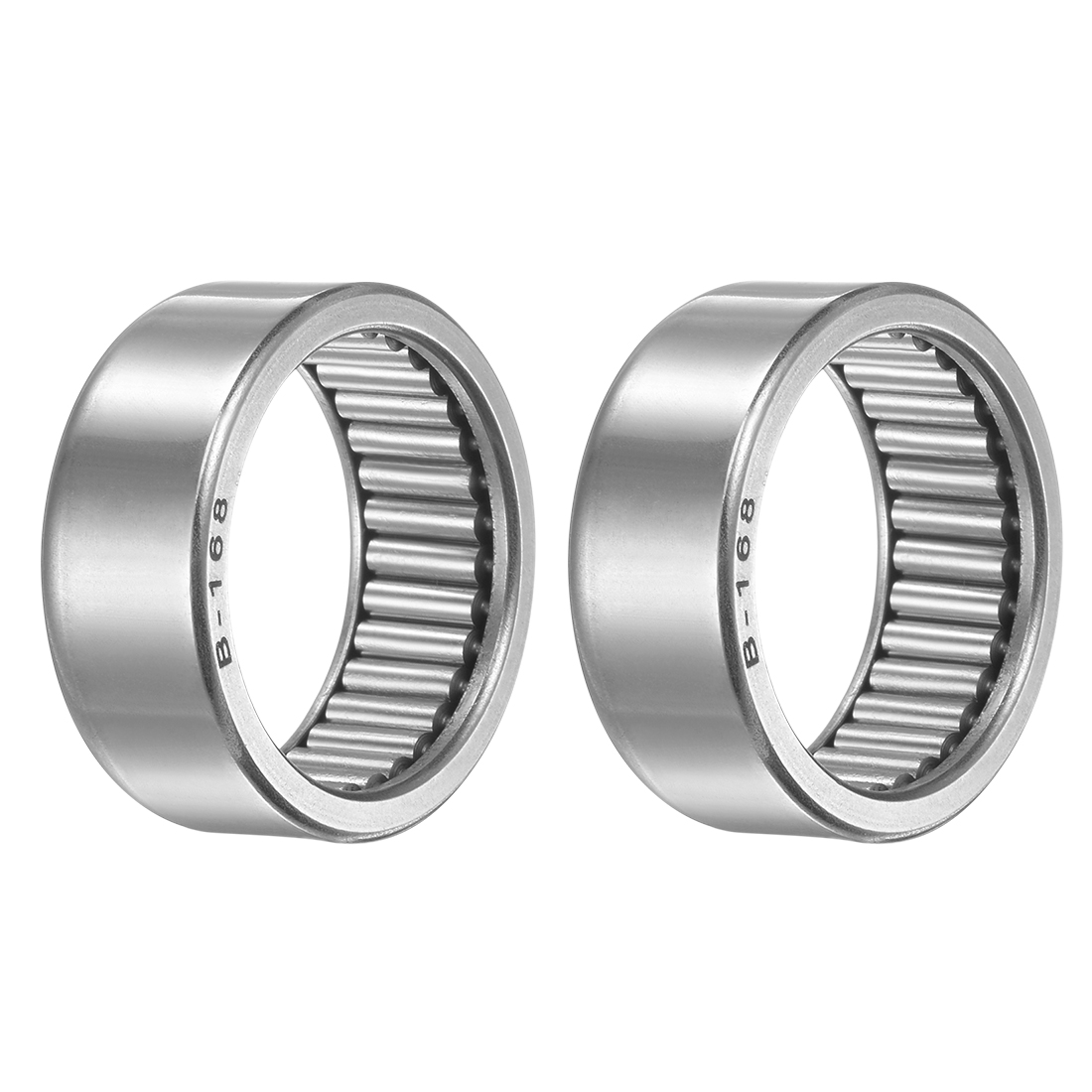 """B168 Needle Roller Bearings 1"""" x 1-1/4"""" x 1/2"""" Full Complement Drawn Cup 2pcs"""