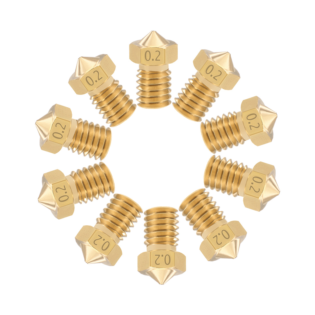 0.2mm 3D Printer Nozzle Head M6 Thread V5 V6 1.75mm Extruder Print Brass 10pcs