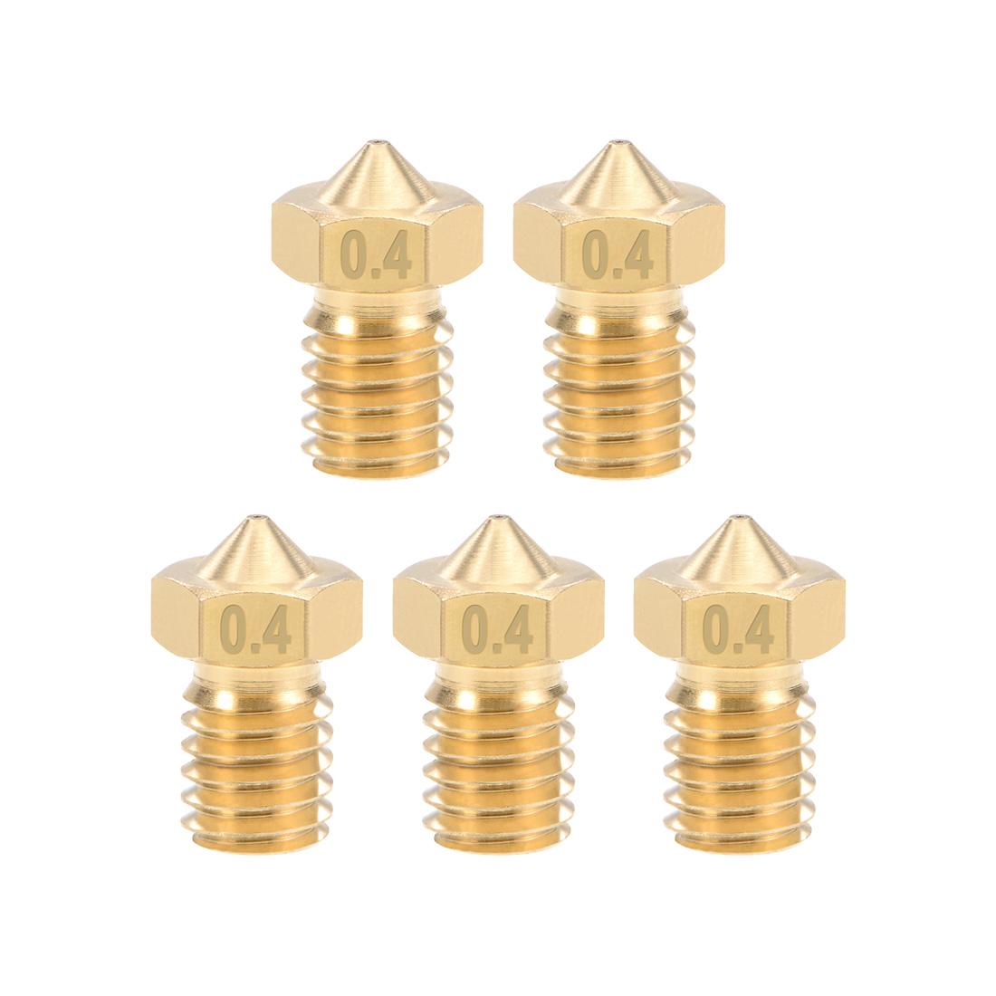 0.4mm 3D Printer Nozzle Head M6 Thread V5 V6 1.75mm Extruder Print Brass 5pcs