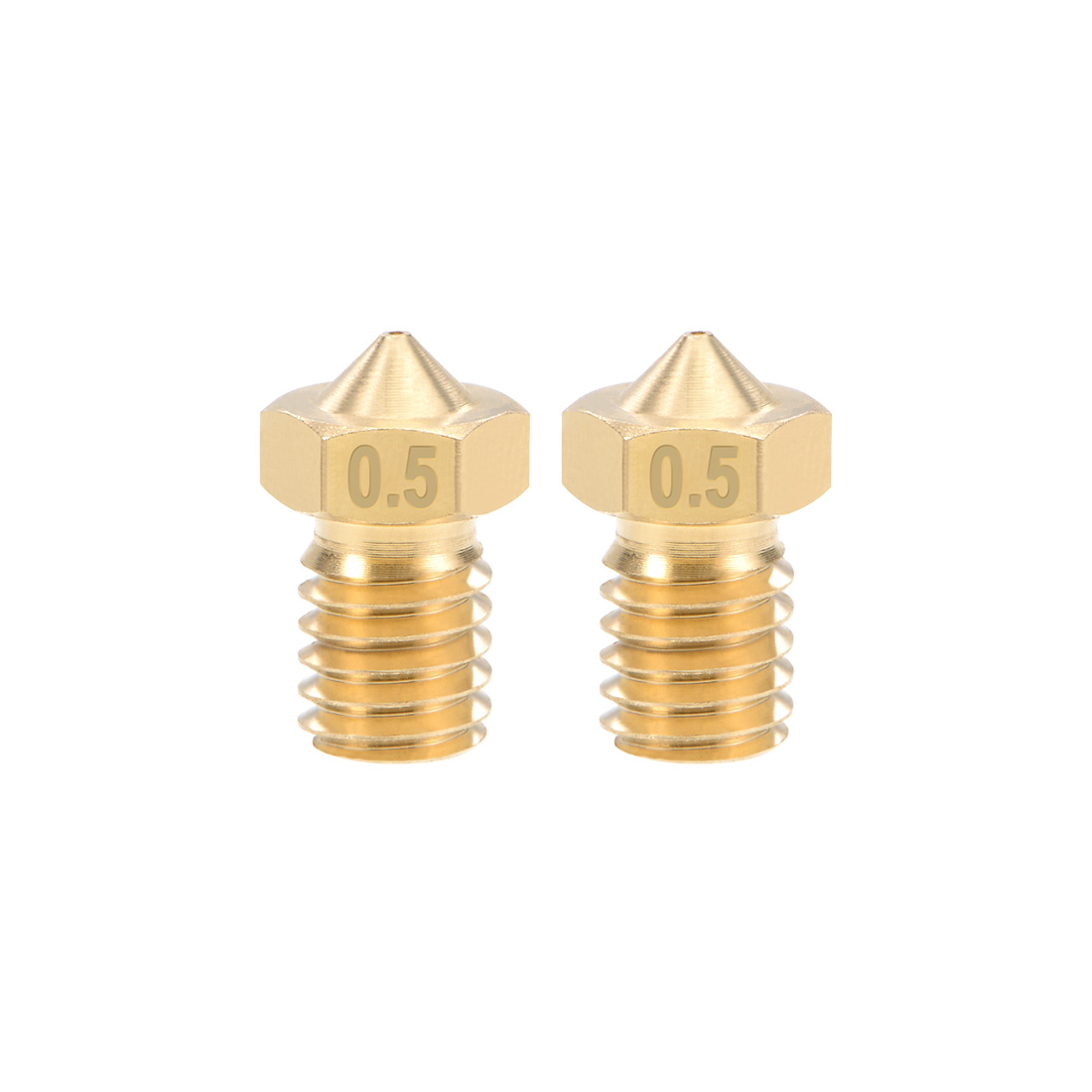 0.5mm 3D Printer Nozzle Head M6 Thread V5 V6 1.75mm Extruder Print Brass 2pcs