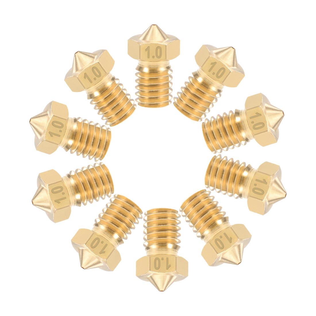 1mm 3D Printer Nozzle M6 Thread V5 V6 1.75mm Extruder Print Brass, 10pcs