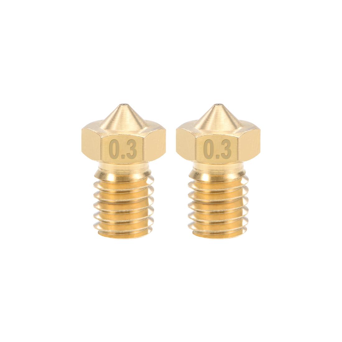 0.3mm 3D Printer Nozzle Head M6 Thread V5 V6 3mm Extruder Print Brass 2pcs