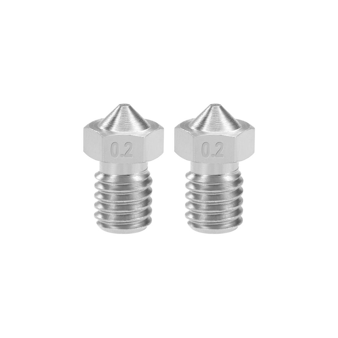 0.2mm 3D Printer Nozzle Head M6 Thread for V5 V6 1.75mm Extruder Print 2pcs