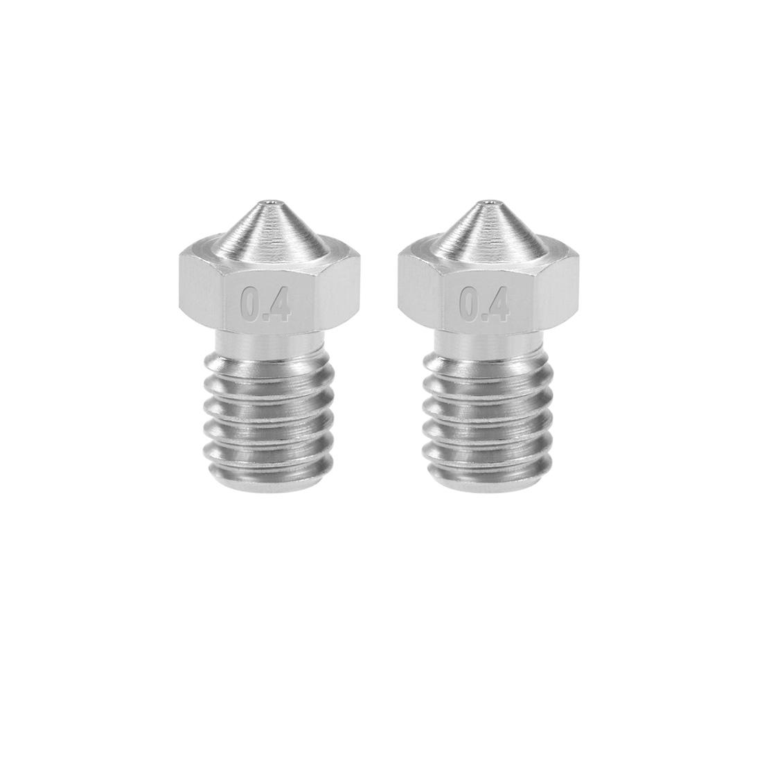 0.4mm 3D Printer Nozzle Head M6 Thread for V5 V6 1.75mm Extruder Print 2pcs