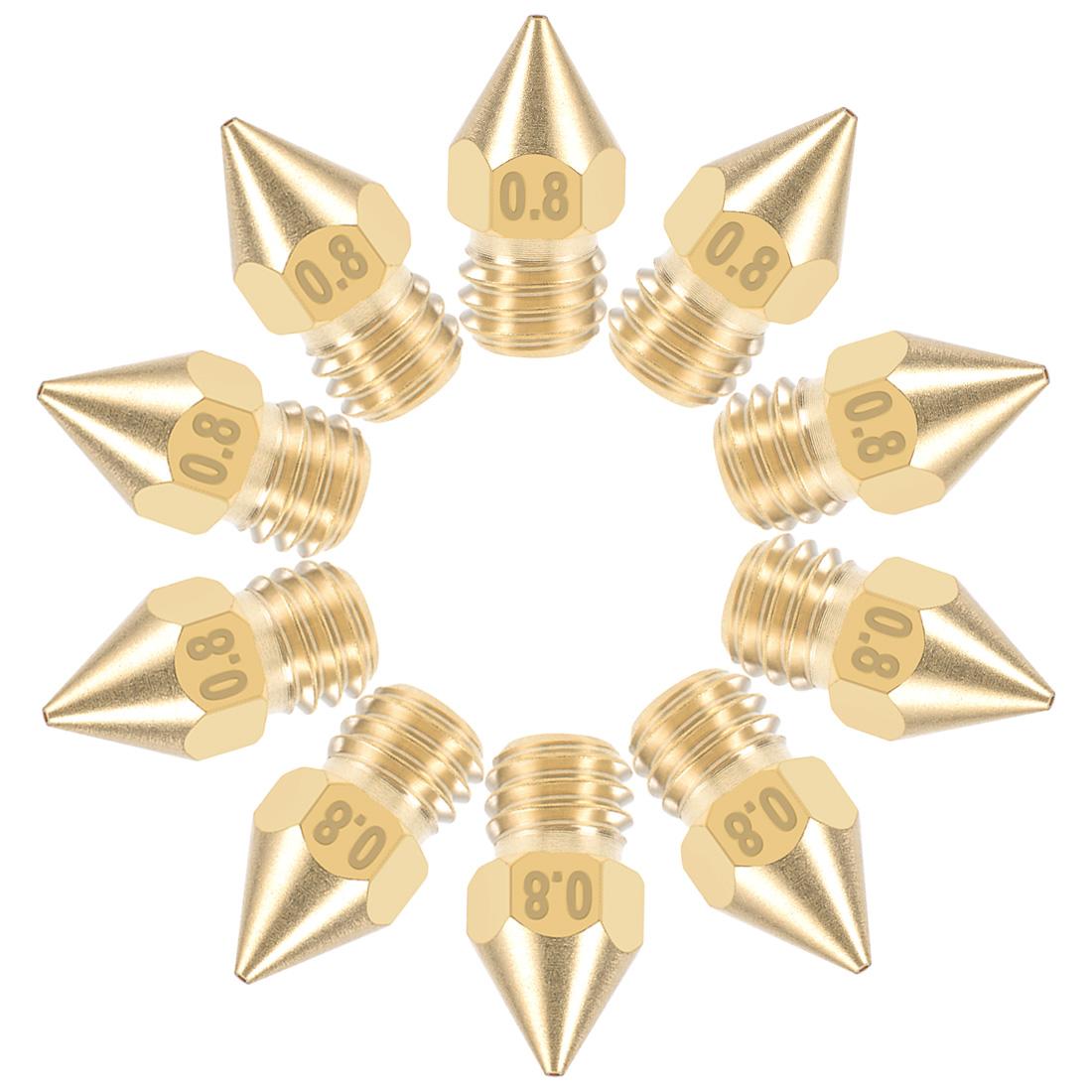 0.8mm 3D Printer Nozzle Head M6 Thread MK8 1.75mm Extruder Print Brass 10pcs