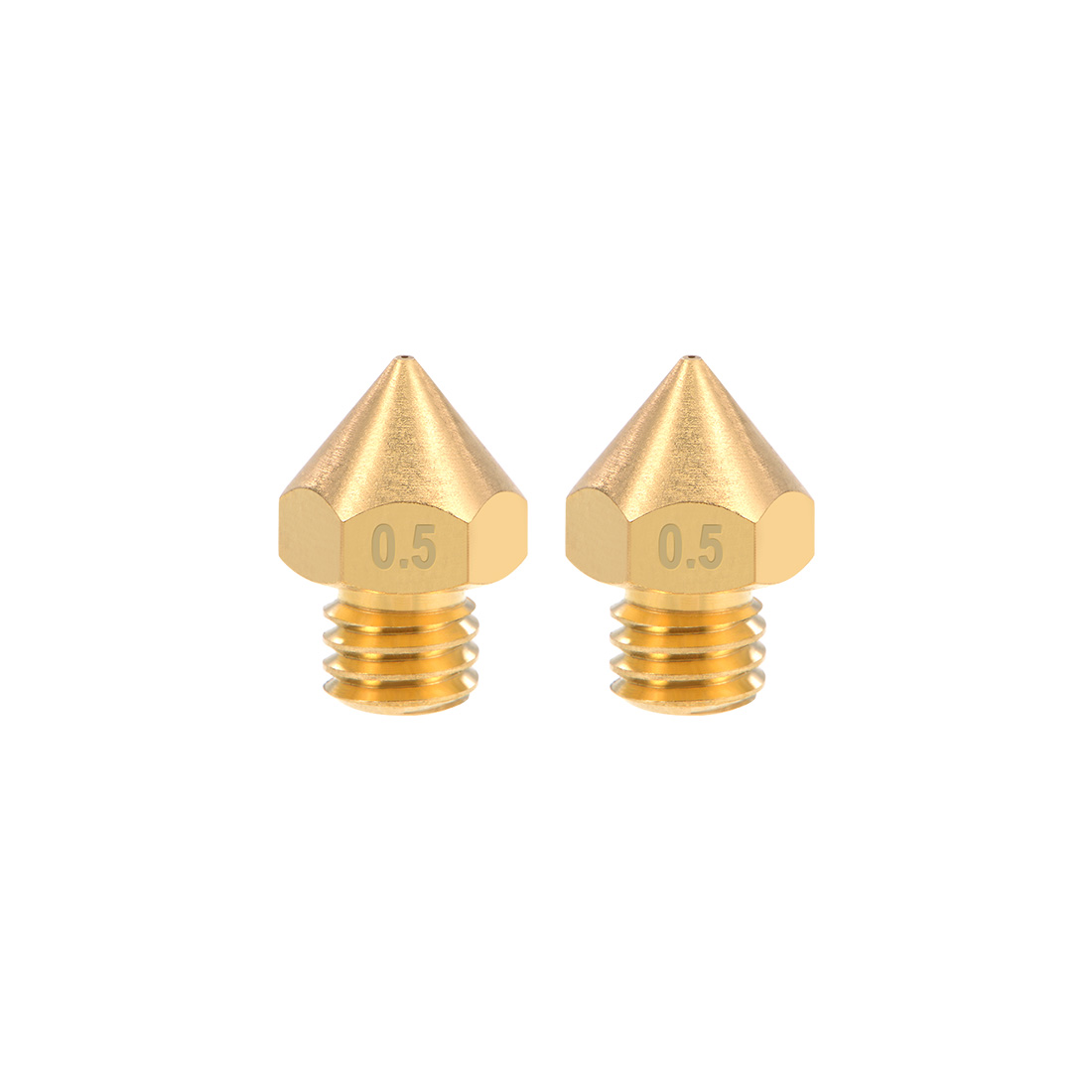 0.5mm 3D Printer Nozzles Head M6 Thread MK8 1.75mm Extruder Print Brass 2pcs