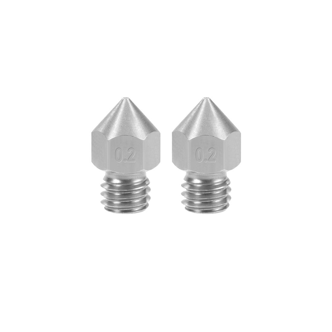 0.2mm 3D Printer Nozzle Head M6 Thread for MK8 1.75mm Extruder Print 2pcs