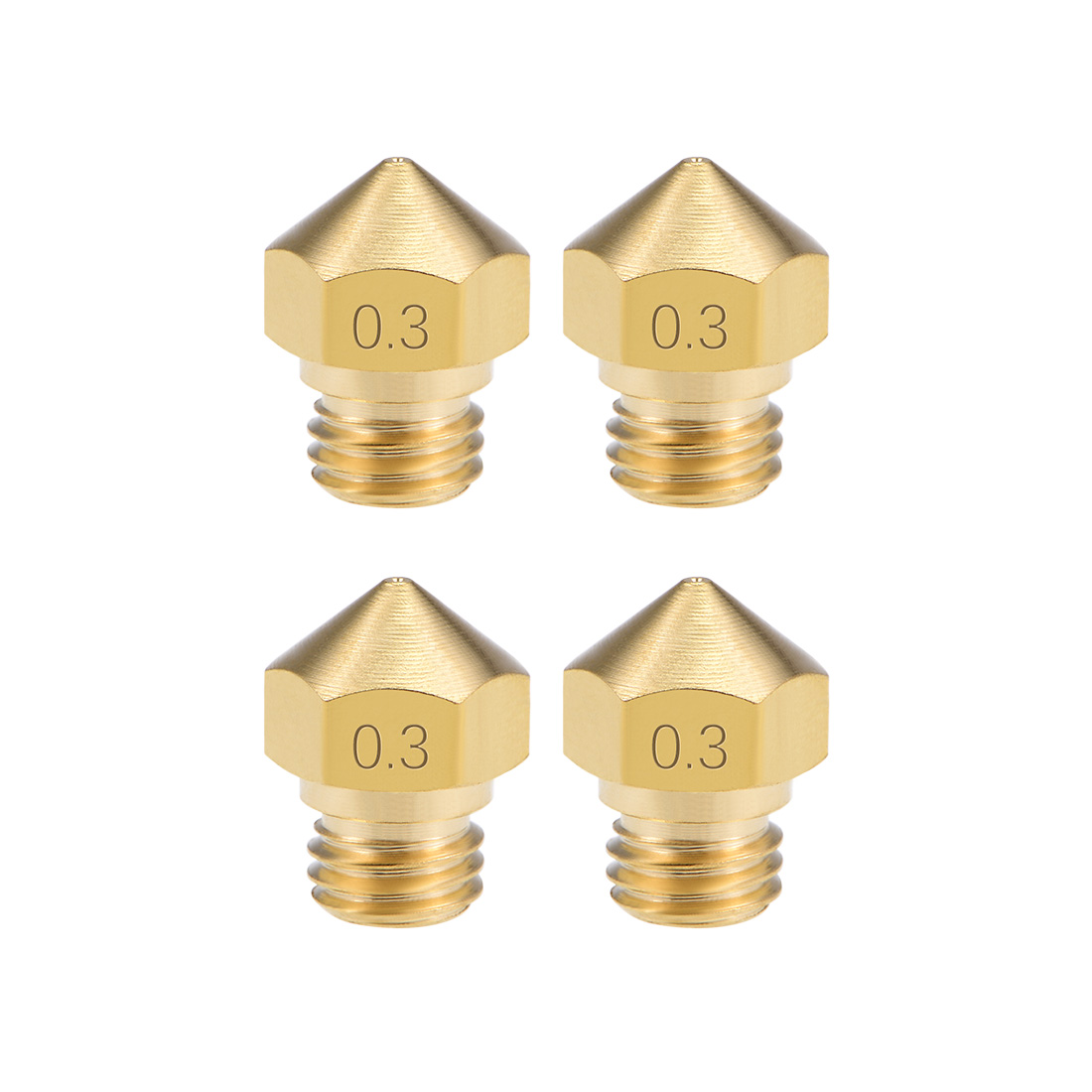 0.3mm 3D Printer Nozzle Head M7 Thread MK10 1.75mm Extruder Print, Brass 4pcs