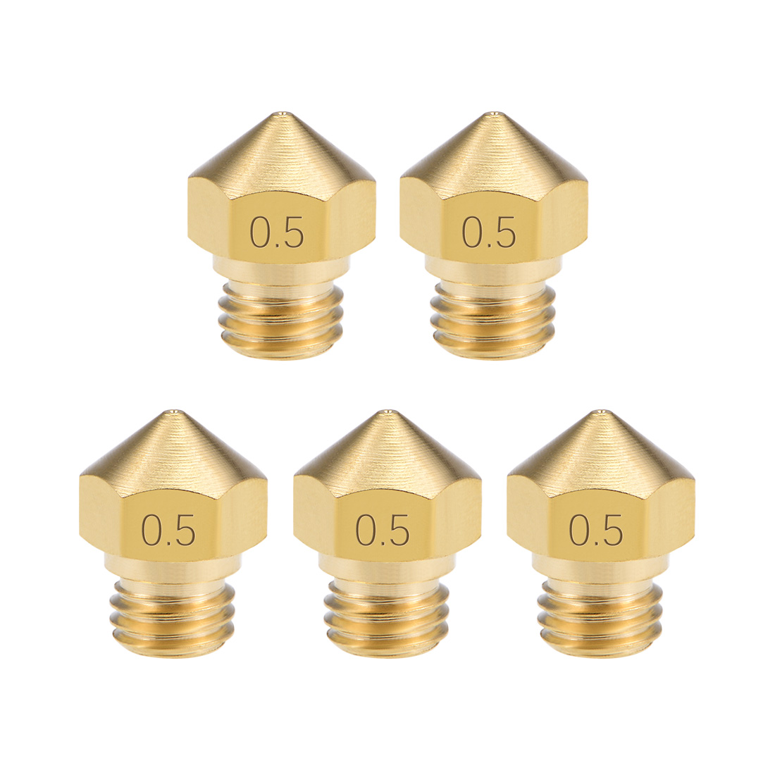 0.5mm 3D Printer Nozzle Head M7 Thread MK10 1.75mm Extruder Print, Brass 5pcs