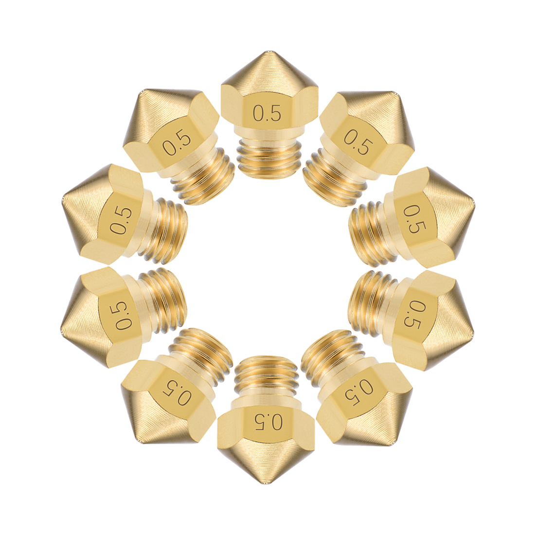 0.5mm 3D Printer Nozzle Head M7 Thread MK10 1.75mm Extruder Print, Brass 10pcs