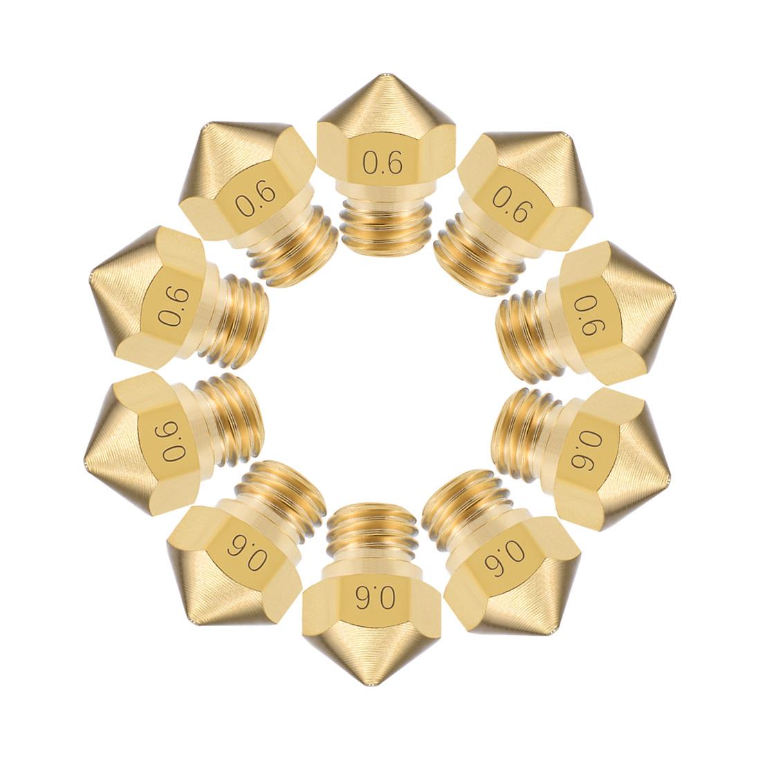 0.6mm 3D Printer Nozzle Head M7 Thread for MK10 1.75mm Extruder Print Brass 10pc
