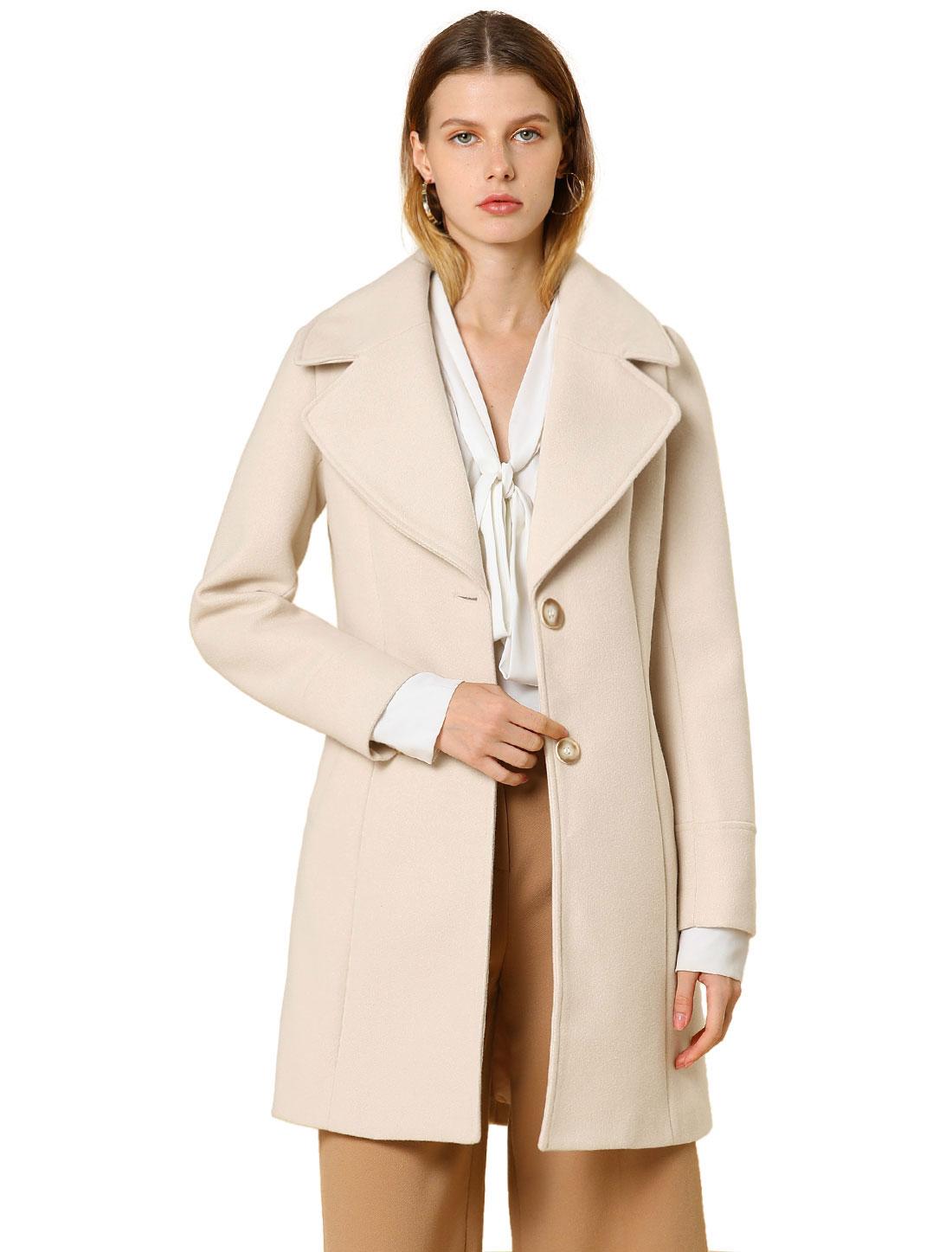 Allegra K Women's Elegant Notched Lapel Button Winter Trench Coat Off-White XS