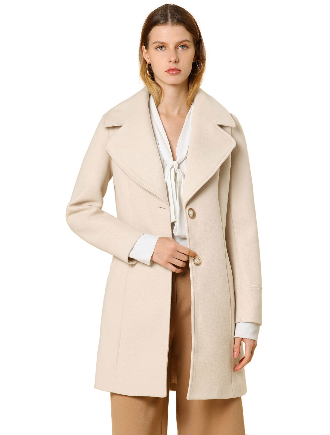 Allegra K Women's Elegant Notched Lapel Button Winter Trench Coat Off-White S