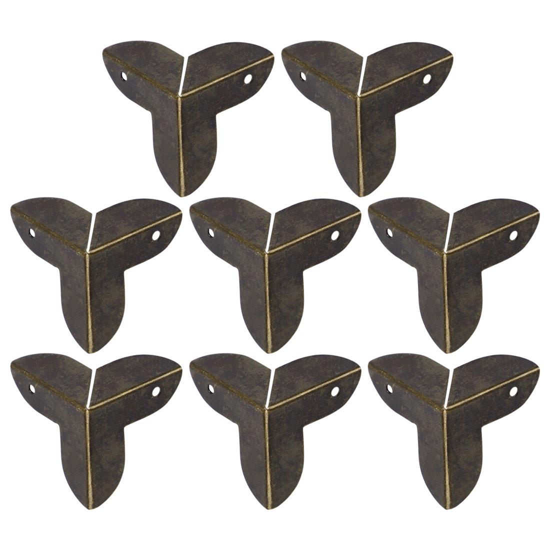 8pcs Box Corner Protectors Bronze Tone Triangle Frame Box Furniture Protectors