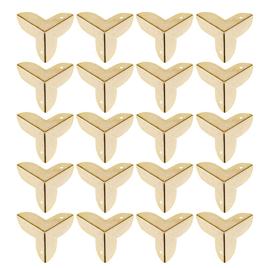 20pcs Box Corner Protector Gold Tone Triangle Frame Desk Box Furniture Protector