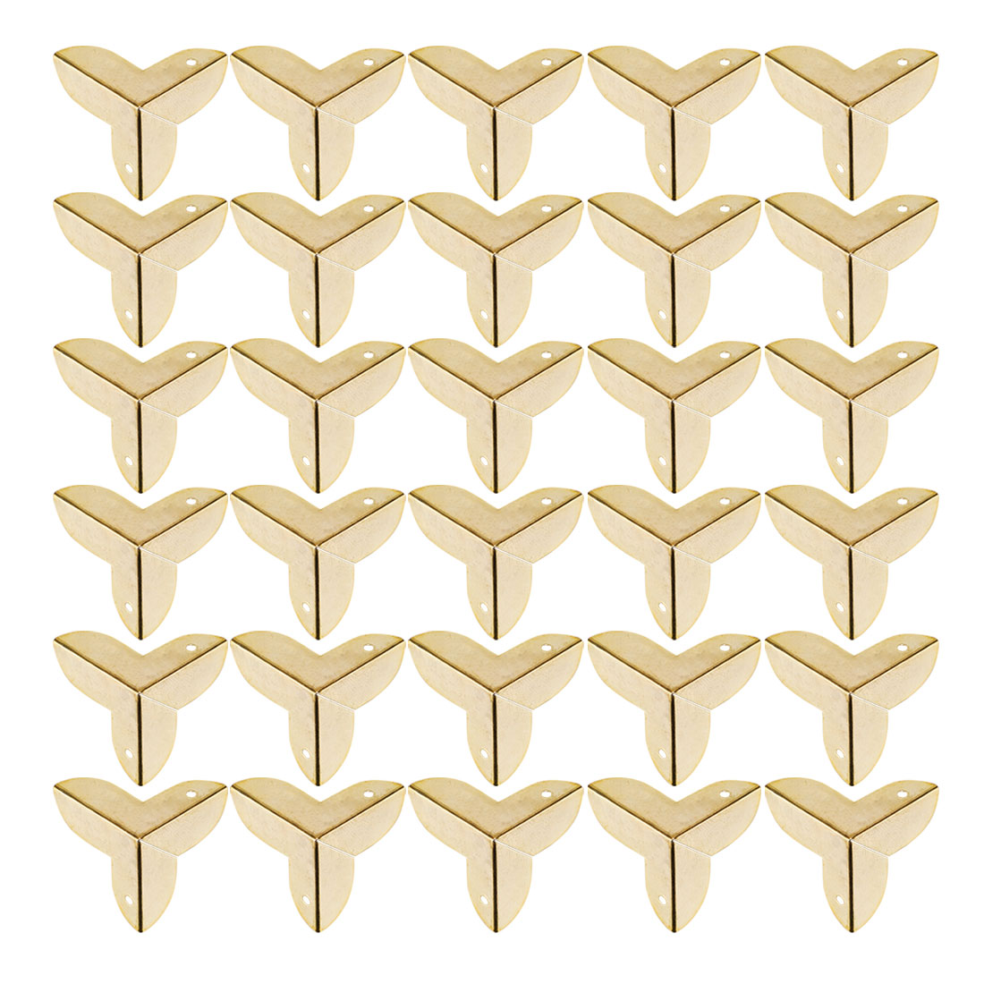 30pcs Box Corner Protector Gold Tone Triangle Frame Desk Box Furniture Protector