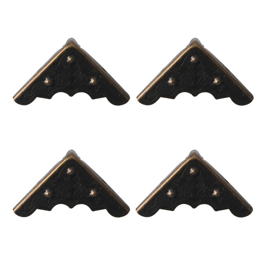 4pcs Box Corner Protector Bronze Tone Triangle Frame Box Furniture Protectors