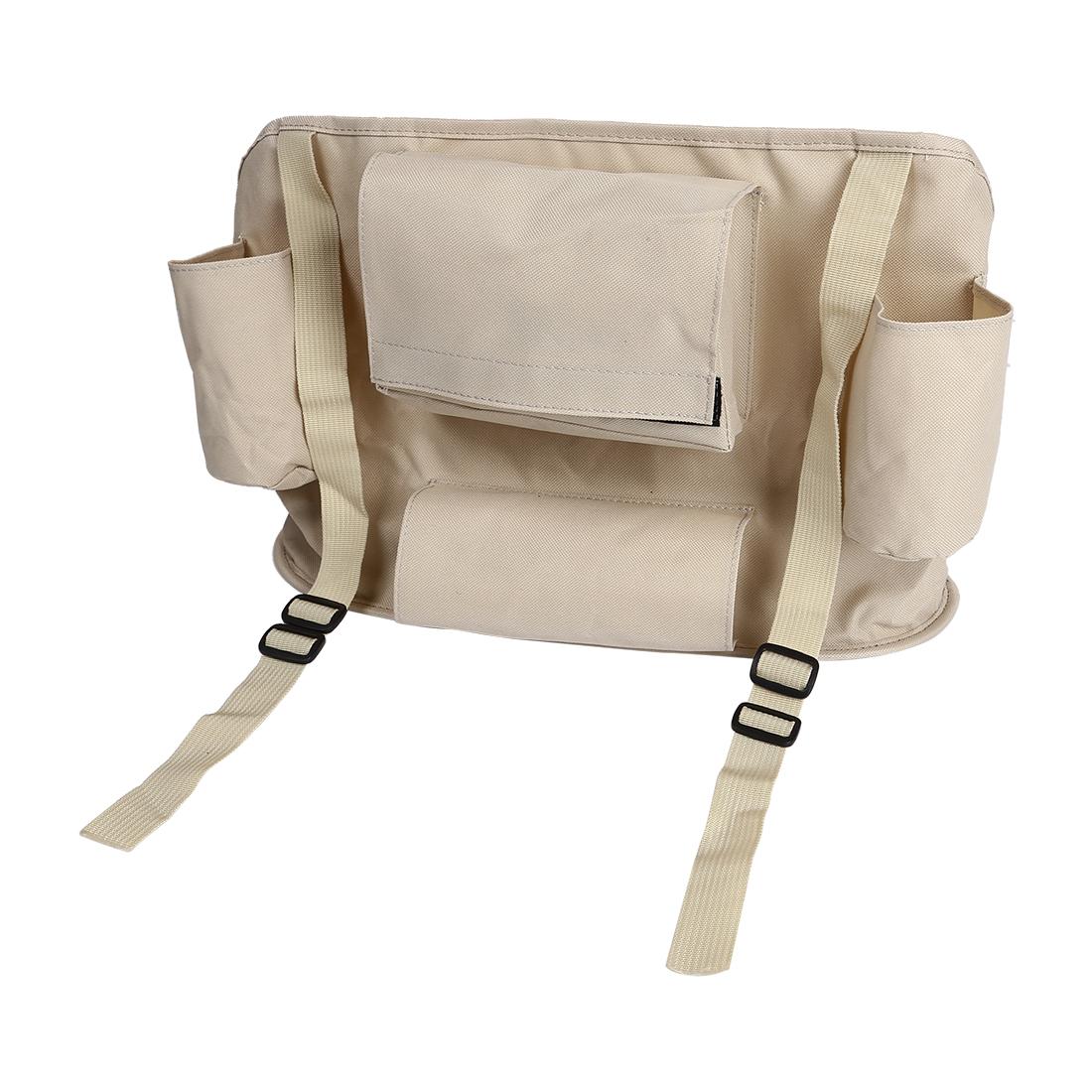 Beige Car Vehicle Back Seat Organizer Holder Travel Storage Bag Multi-Pocket