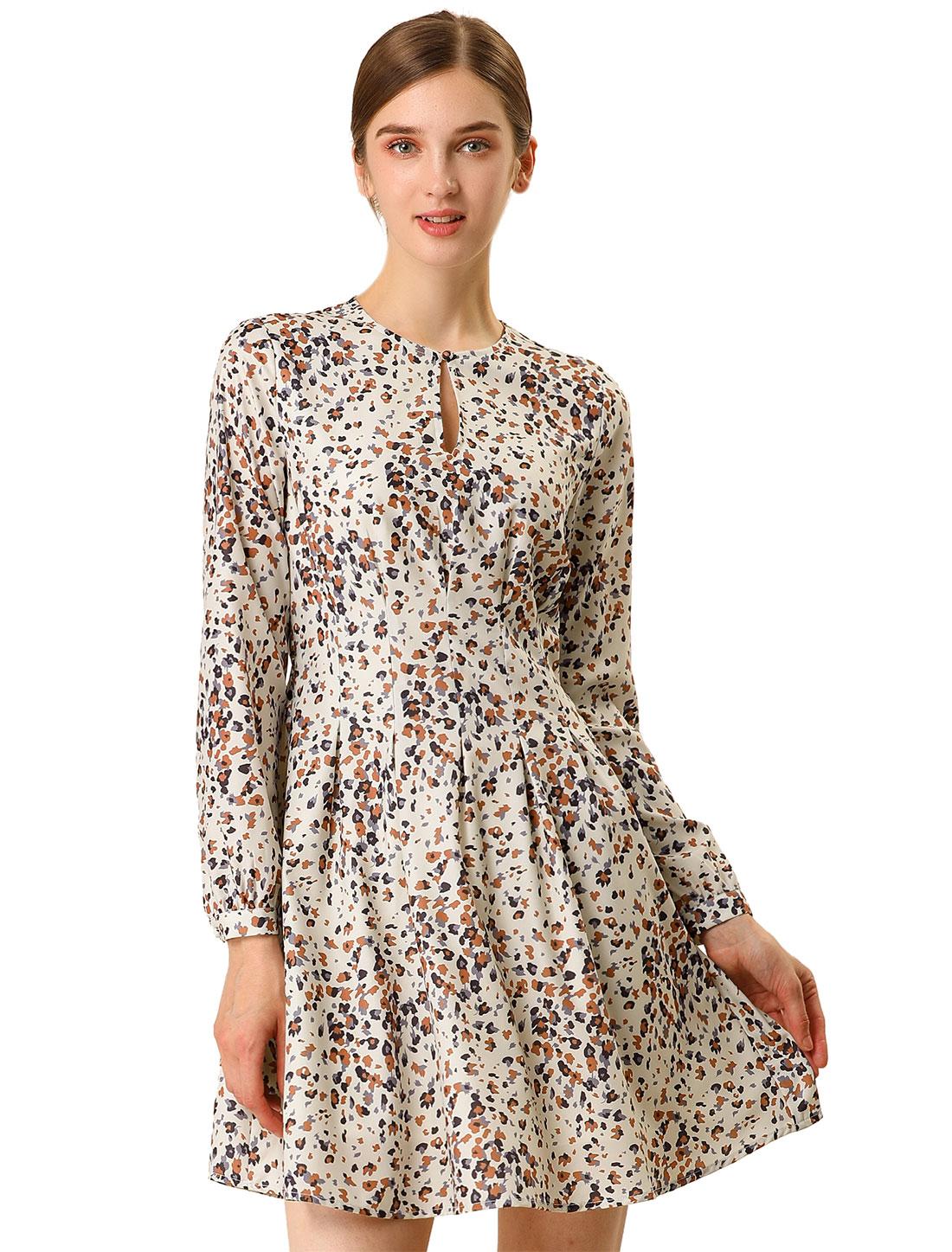 Allegra K Women's A-line Pleated Fit and Flared Leopard Dress Beige L