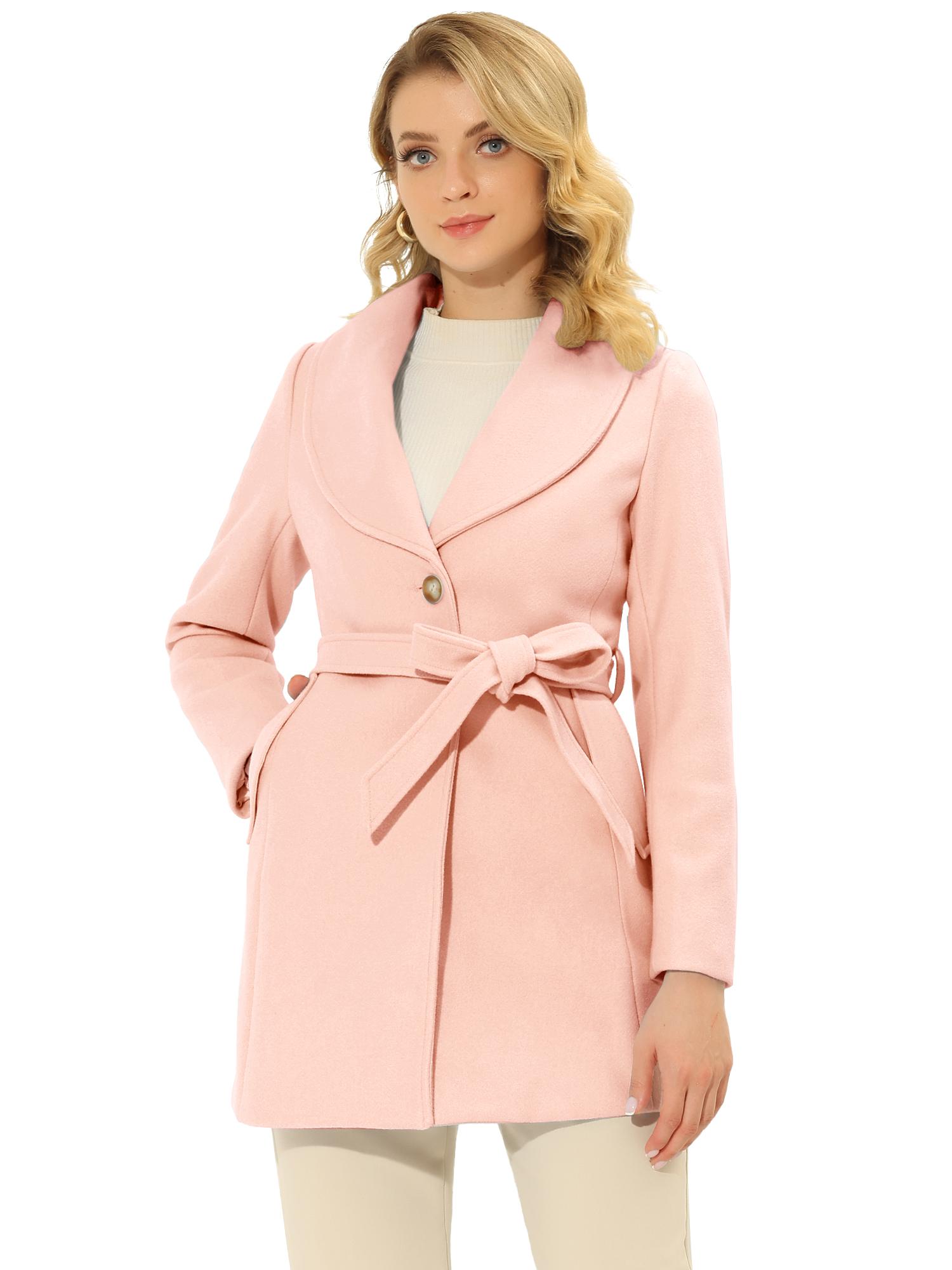 Allegra K Women's Casual Cute Slim Single Breasted Belt Coat Pink XL (US 18)