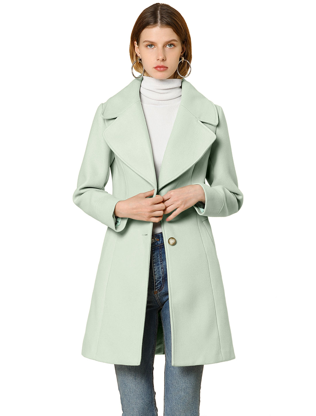 Allegra K Women's Elegant Notched Lapel Button Winter Long Trench Coat Green XL