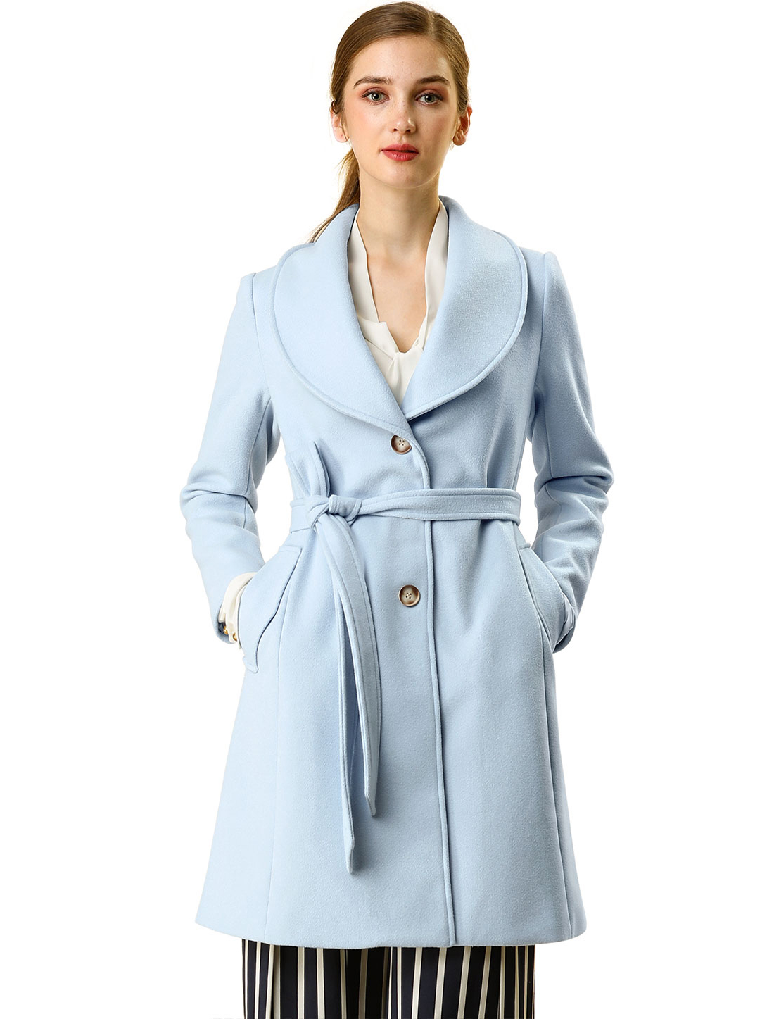 Allegra K Women's Casual Cute Slim Single Breasted Belt Coat Blue S (US 6)