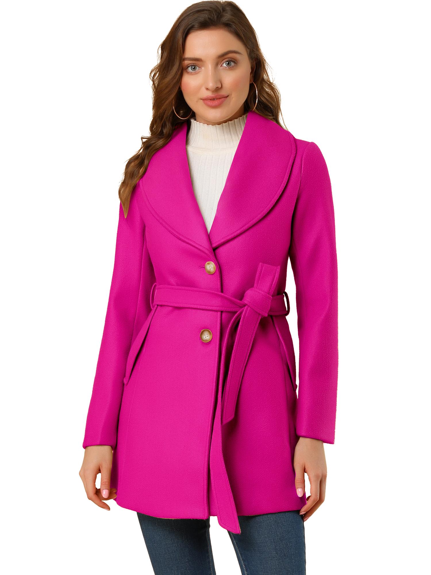 Allegra K Women's Casual Cute Slim Single Breasted Belt Coat Rose Red M (US 10)