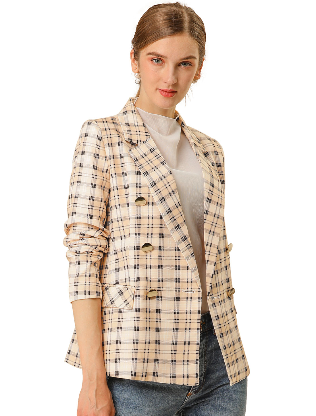 Allegra K Women Plaid Checks Outwear Blazer Jacket Pink Apricot XS