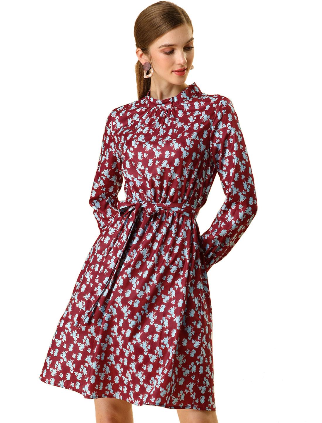 Allegra K Women's Floral Flare Long Sleeve Tie Waist A-line Dress Red L