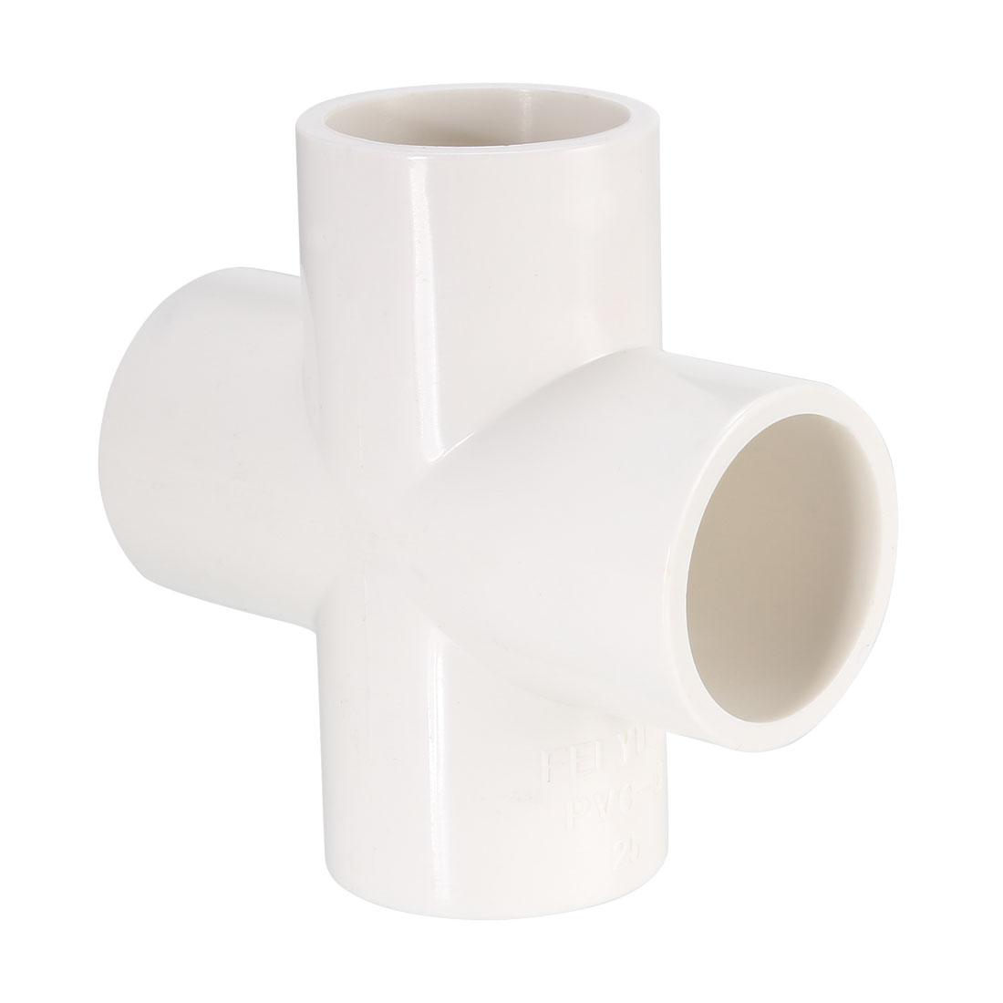 PVC Pipe Fitting, 4 Way Cross, 25mm Socket, PVC Furniture Fittings White 2Pcs