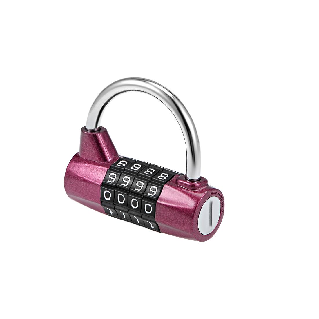 4-Digit Combination Padlock 1/5-inch Shackle Resettable Locker Lock Wine Red