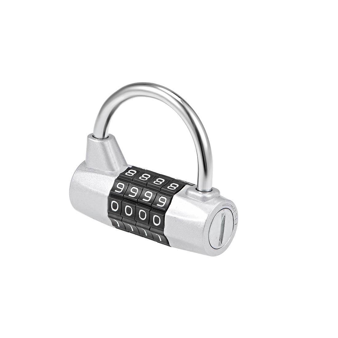 4-Digit Combination Padlock 1/5-inch Shackle Resettable Locker Lock Silver