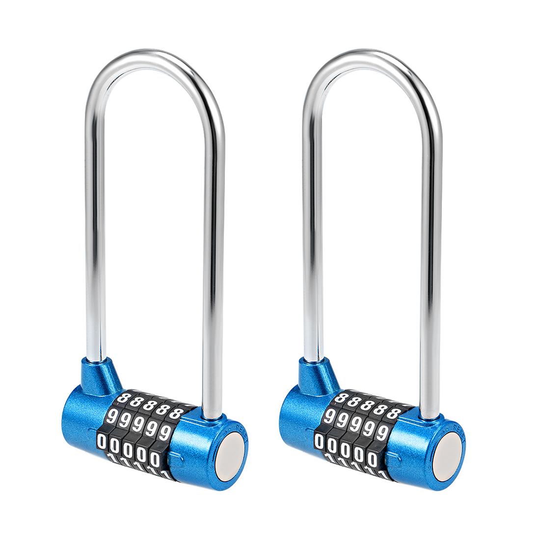 5-Digit Combination Padlock 7mm Steel Shackle Resettable Lock Blue 2Pcs