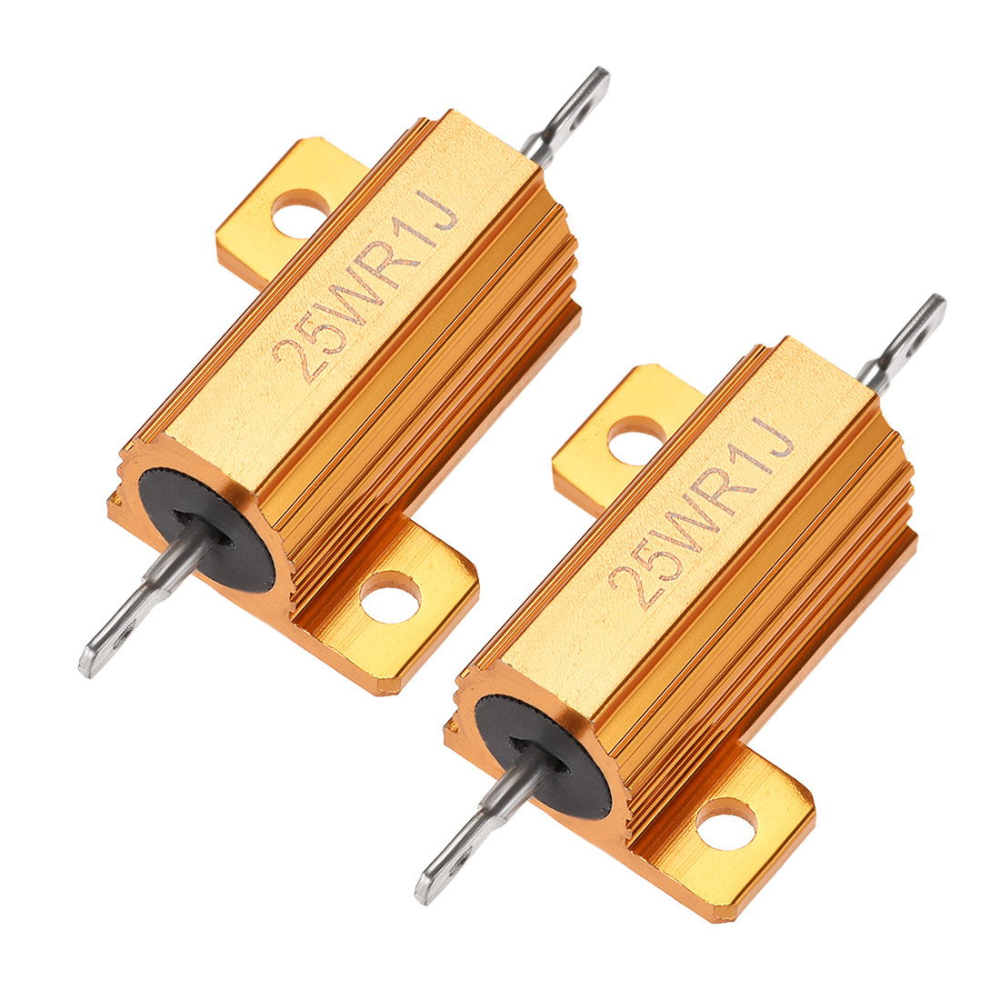 25 Watt 0.1 Ohm 5% Aluminum Housing Resistor Wirewound Resistor Gold Tone 2 Pcs