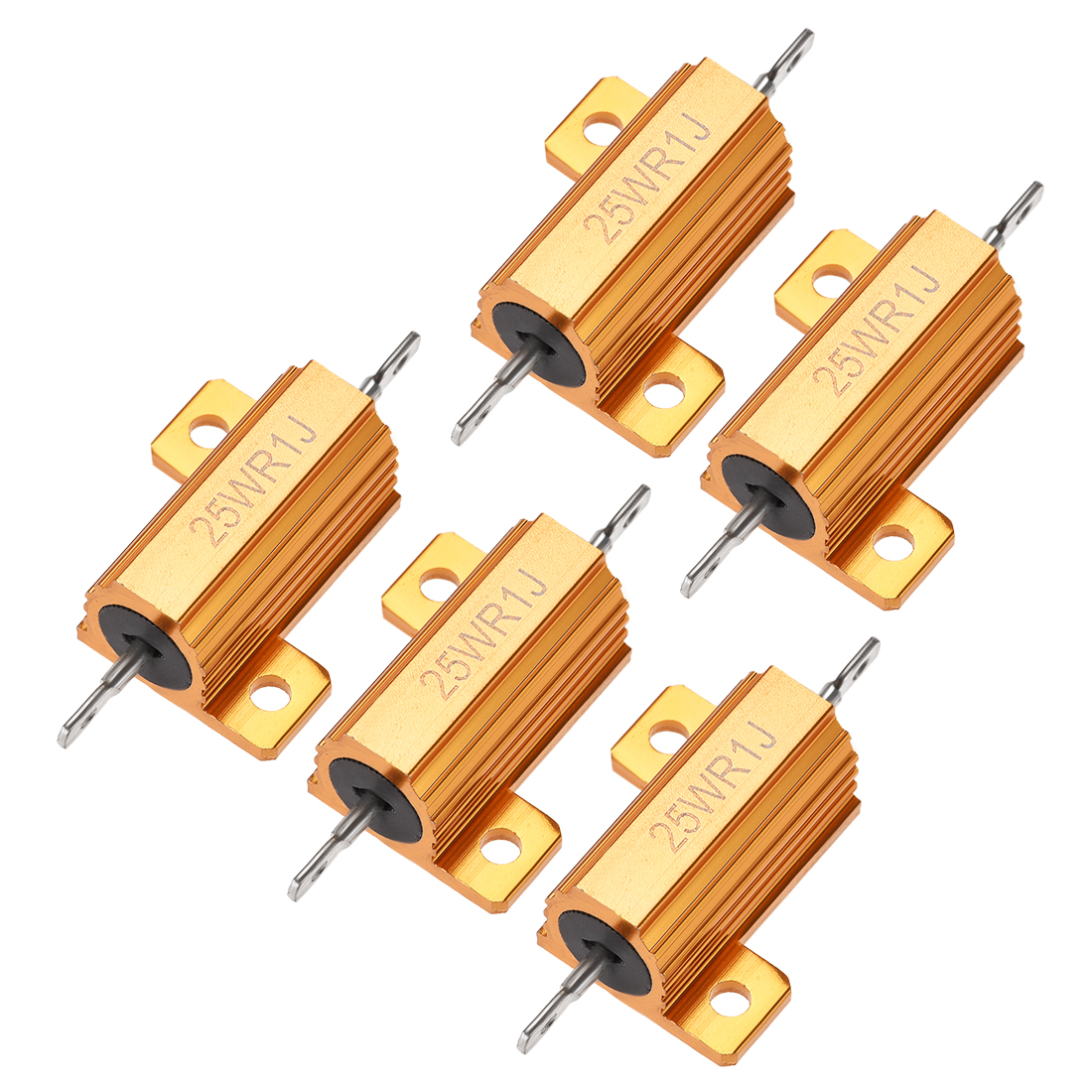 25W 0.1 Ohm 5% Aluminum Housing Resistor Wirewound Resistor Gold Tone 5 Pcs