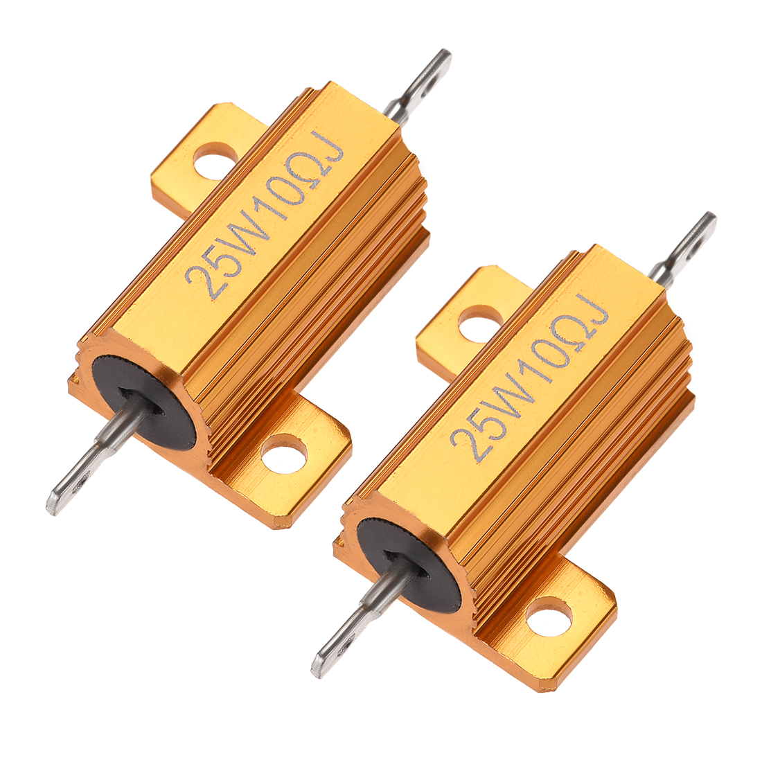 25 Watt 10 Ohm 5% Aluminum Housing Resistor Wirewound Resistor Gold Tone 2 Pcs