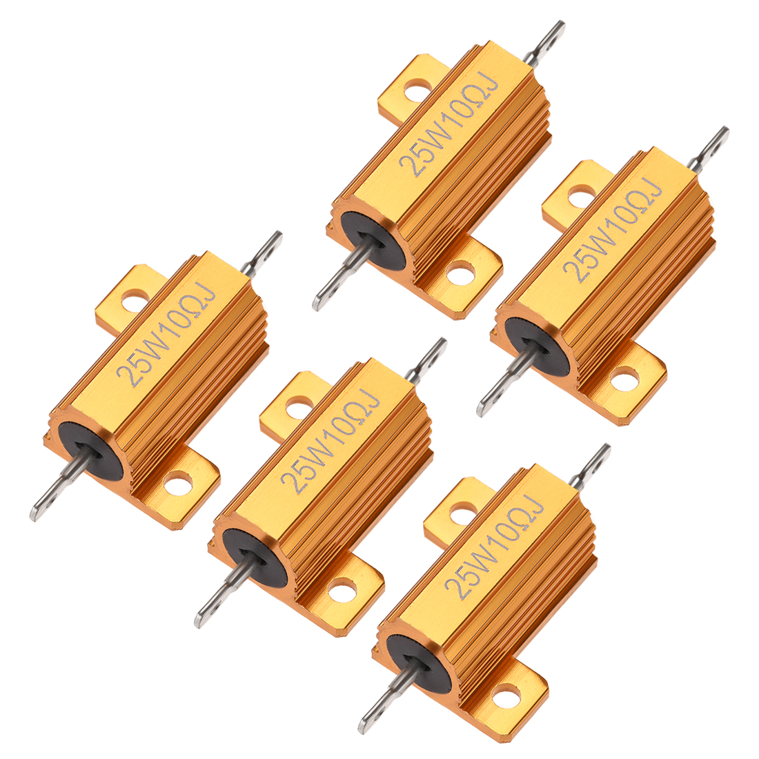 25W 10 Ohm 5% Aluminum Housing Resistor Wirewound Resistor Gold Tone 5 Pcs