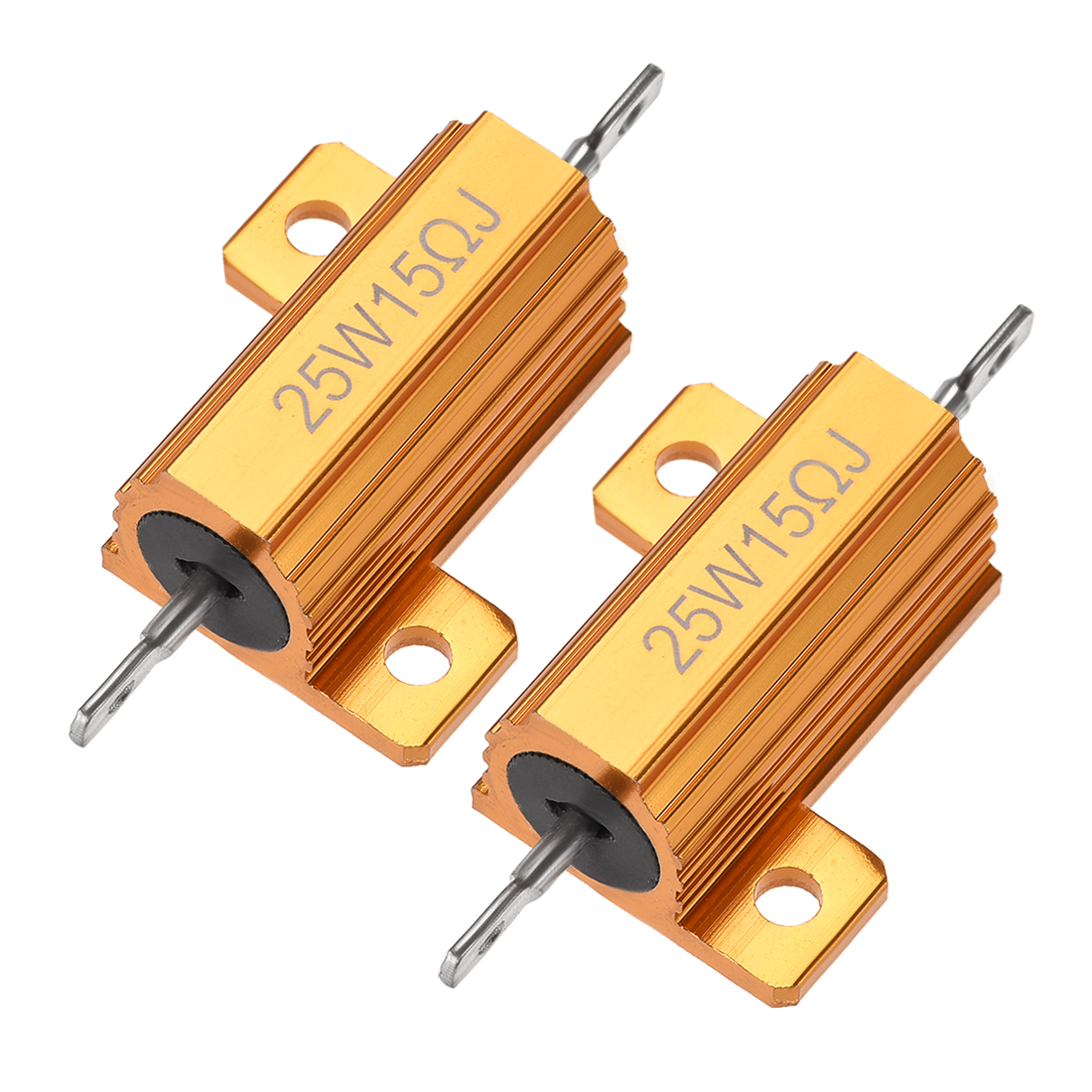 25Watt 15 Ohm 5% Aluminum Housing Resistor Wirewound Resistor Gold Tone 2 Pcs