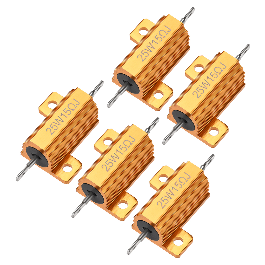 25W 15 Ohm 5% Aluminum Housing Resistor Wirewound Resistor Gold Tone 5 Pcs