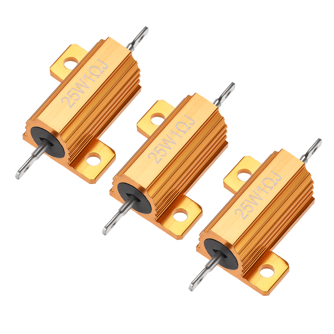 25W 1 Ohm 5% Aluminum Housing Resistor Wirewound Resistor Gold Tone 3 Pcs