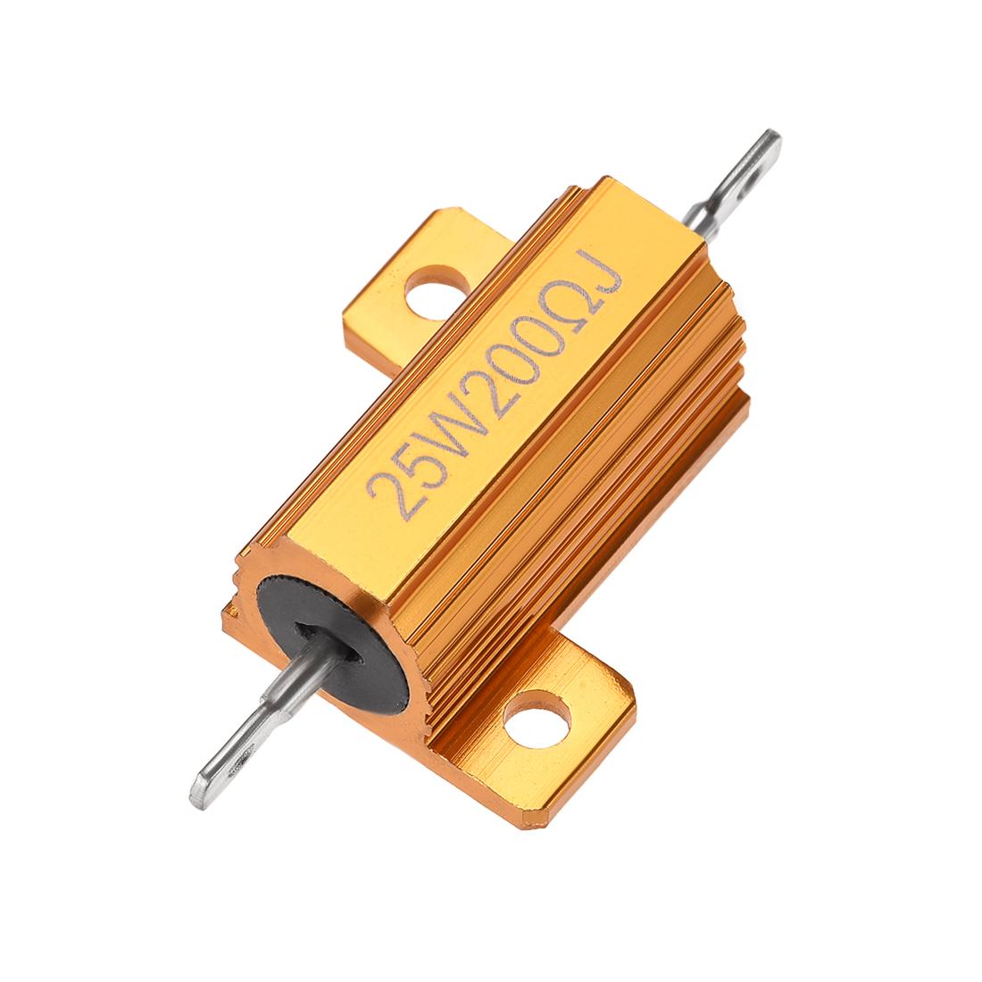 25W 200 Ohm 5% Aluminum Housing Resistor Wirewound Resistor Gold Tone 1 Pcs